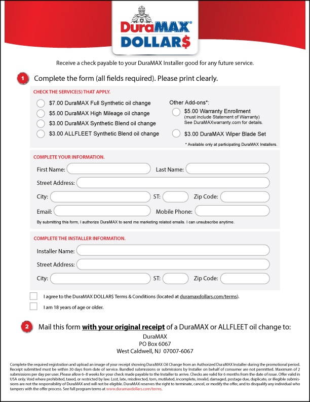 DuraMAX Dollars mail-in form